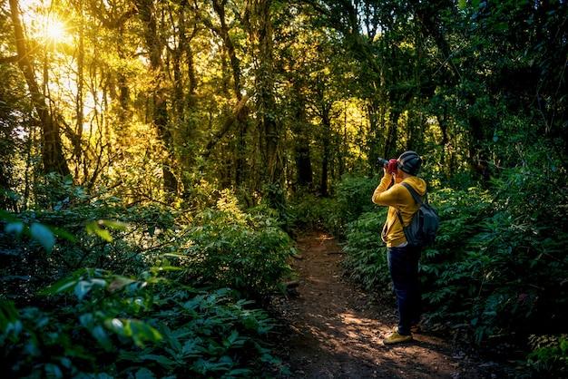 전문 사진 작가가 숲에서 카메라로 사진을 찍습니다. 여행, 아시아, 산