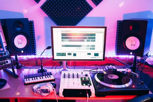 Professional recording studio interior neon light