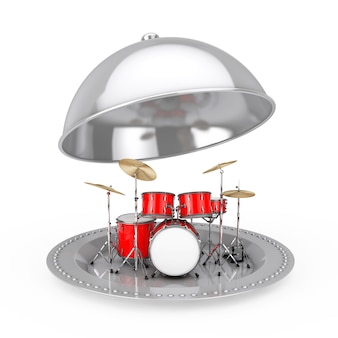 Professional rock red drum kit inside silver restaurant cloche on a white background. 3d rendering
