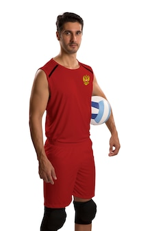 Professional russian volleyball player with ball. isolated on white space.