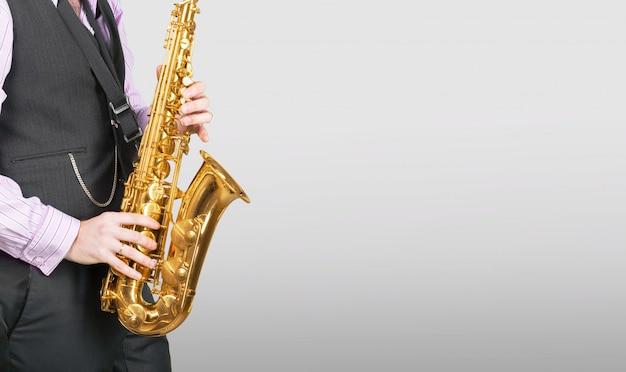 Professional saxophonist close up