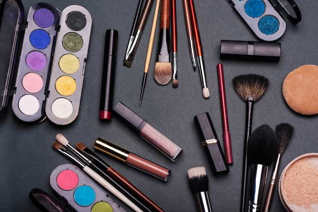 Professional set of cosmetics for make up and skin care and female beauty