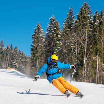 Professional skier skiing on a mountain