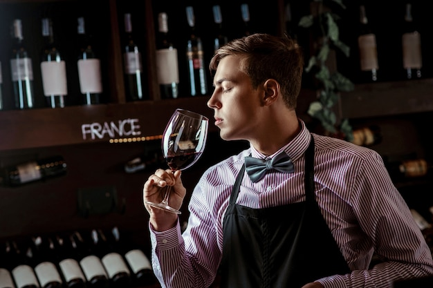 Professional sommelier smelling the red wine