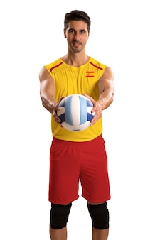 Professional spanish basketball player with ball. isolated on white space.