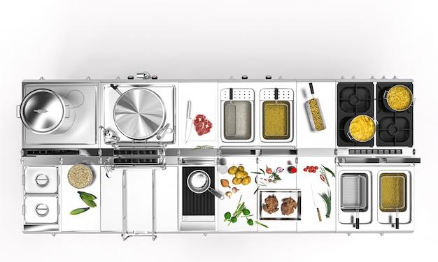 Professional stainless steel kitchen for restaurants.