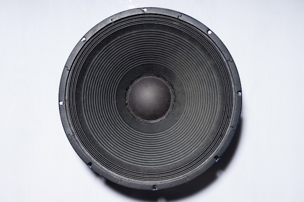 Professional subwoofer speaker 18 inches, on white, isolated