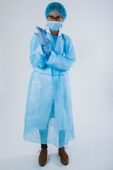 Professional surgeon with gloves