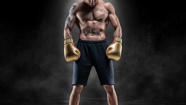 プロのタイのボクサーは完全な戦闘装備で立っています。ムエタイ、キックボクシング、武道のコンセプト。ミクストメディア