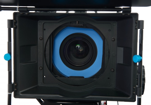 Professional video camera on white