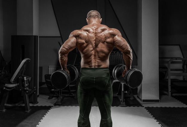 Профессиональный штангист тренируется в тренажерном зале. упражнения для спины. концепция бодибилдинга. Premium Фотографии