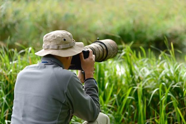 Professional wildlife photographer outdoor
