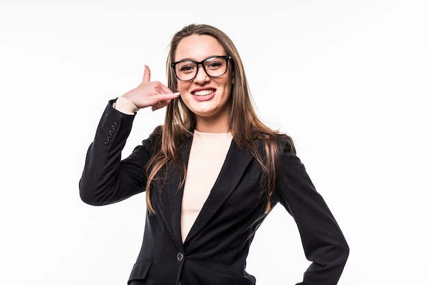 Professional woman wearing black dress suite on a white.