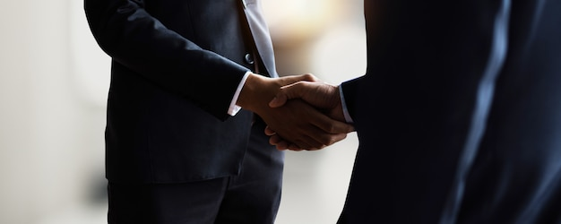 Professional young business people handshake with partner after successful communication, negotiation, financial success and corporate celebration of start up, best marketing and to goal achievement