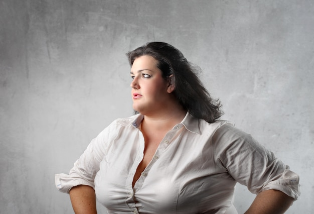 Profile of a fat businesswoman