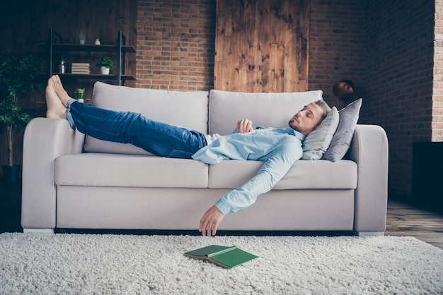 Profile guy stay home quarantine time fall asleep hold book