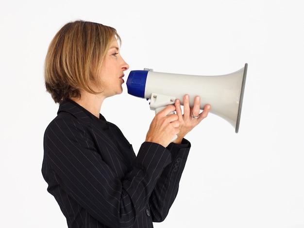 Профиль бизнесмен кричать через мегафон
