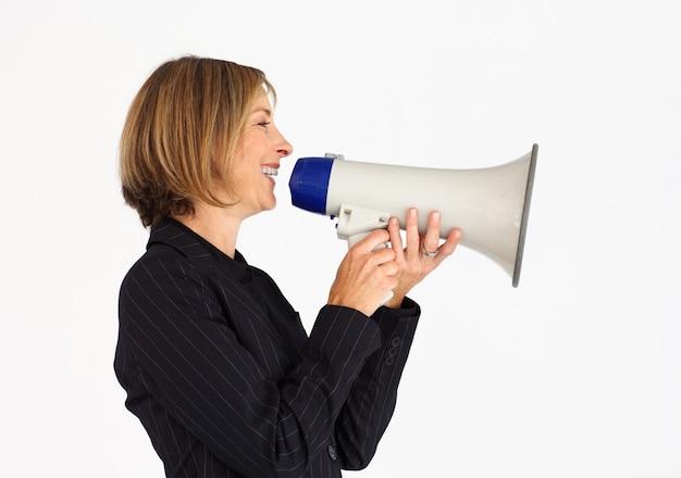 Профиль предприниматель разговаривает через мегафон