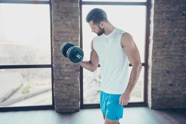 Profile photo of handsome beard guy morning training biceps muscles lift heavy dumbbell sportswear tank-top shorts training house big windows indoors