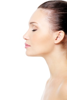 Profile portrait of  female face with clean skin