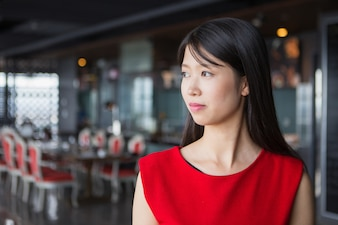 Profile Portrait of Beautiful Young Asian Woman