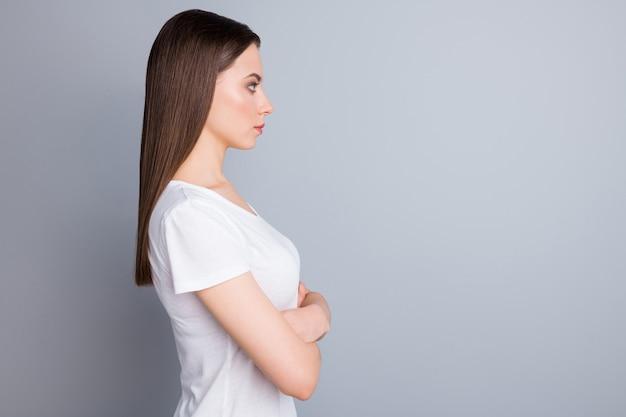 Profile side minded pensive expert girl cross hands