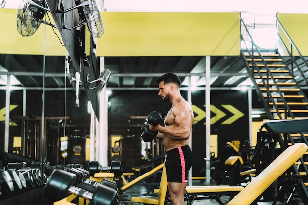 Profile of strong man exercising with dumbbells in a gym