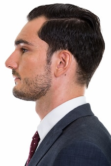 Profile view of face of young handsome businessman