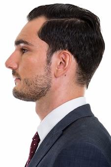 若いハンサムなビジネスマンの顔の縦断ビュー