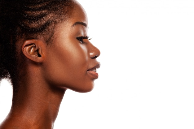 Profile view of young beautiful african american women