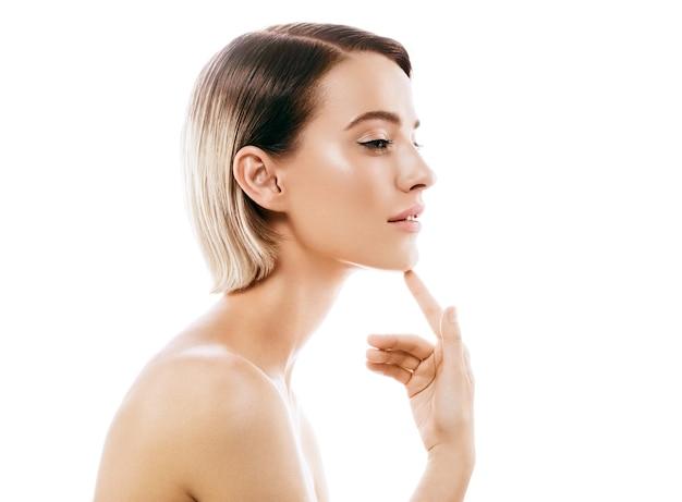 Profile woman beauty skin face neck ear . studio shot. isolated on white.