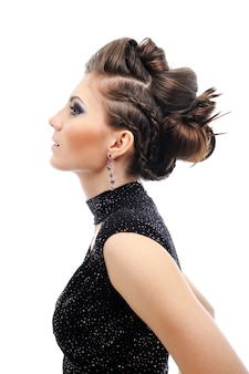Profile of  woman with stylish hairstyle - white space