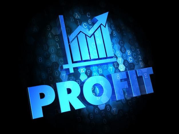 利益の概念-暗いデジタル背景の青い色のテキスト。