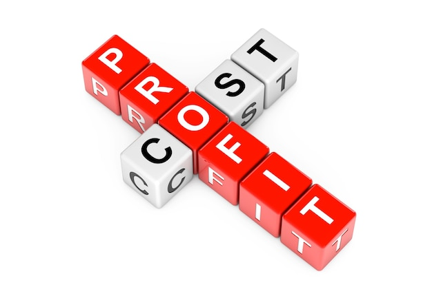 Profit and cost sign as crossword cube blocks on a white background. 3d rendering