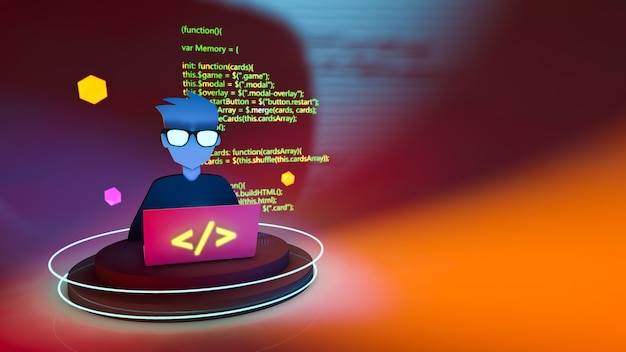 Programmer with 3d computer and yellow code