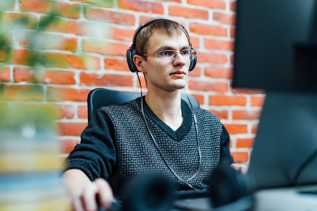 Programmer working in development software company.
