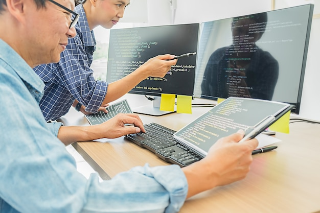 Programmer working in a software development and coding technologies. website design. technology concept.