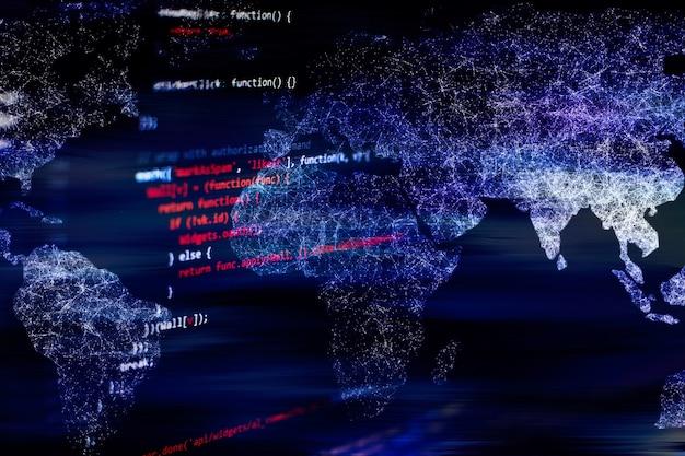 소프트웨어 개발자의 프로그래밍 코드 추상적 인 기술 배경