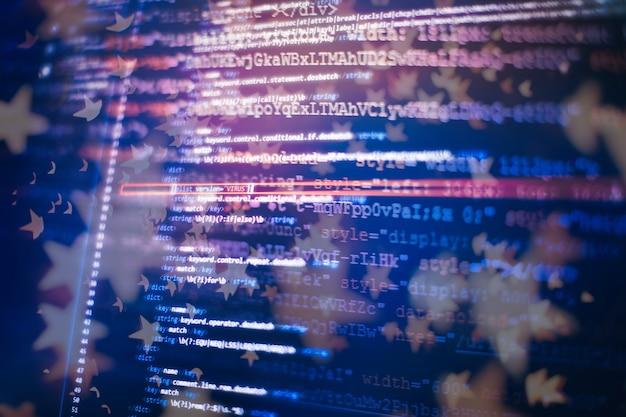 소프트웨어 개발자의 프로그래밍 코드 화면입니다. 소프트웨어 프로그래밍 작업 시간.