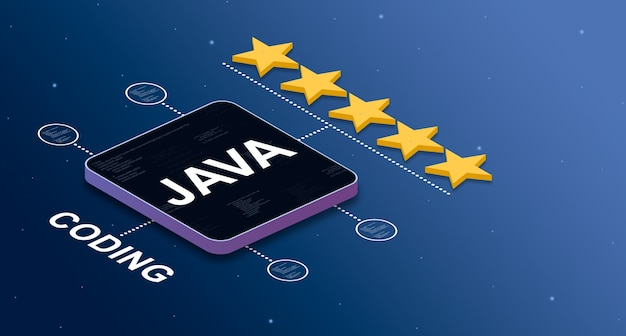 Programming language java with a 5star rating and code elements badges 3d