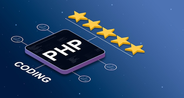 Programming language php with a 5star rating and code elements badges 3d