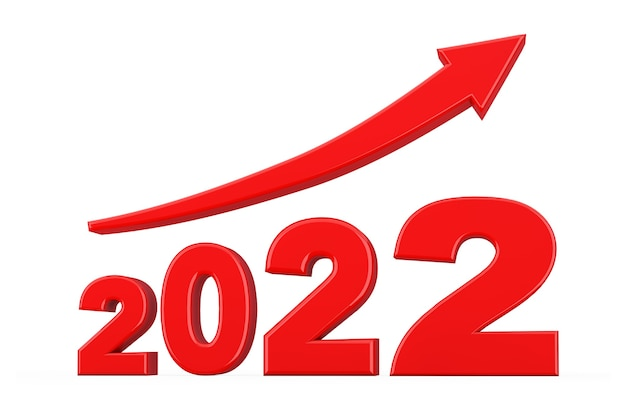 Progress arrow in new 2022 year sign on a white background. 3d rendering