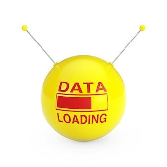 白い背景に抽象的な黄色のデータ球でデータの読み込みを示すプログレスバー。 3dレンダリング