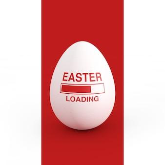白と赤の背景にイースターエッグとイースターの読み込みを示すプログレスバー。 3dレンダリング