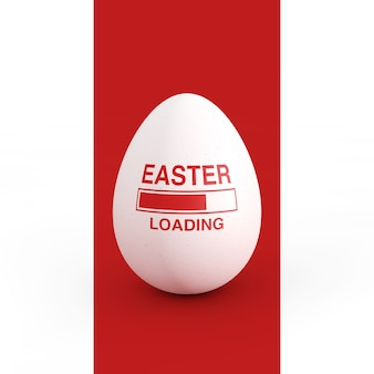 Progress bar showing easter loading with easter egg on a white and red background. 3d rendering