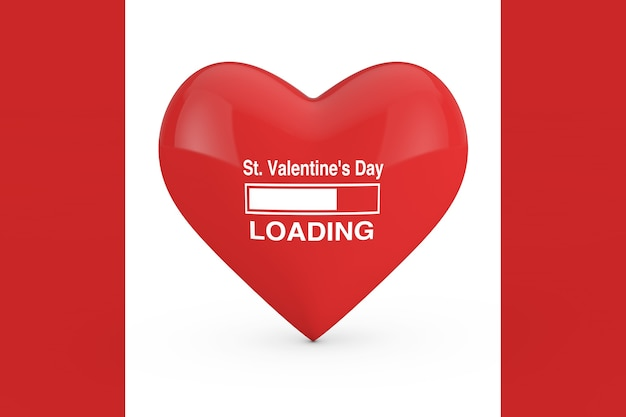 Progress bar showing st. valentine's day loading with red heart on a white and red background. 3d rendering