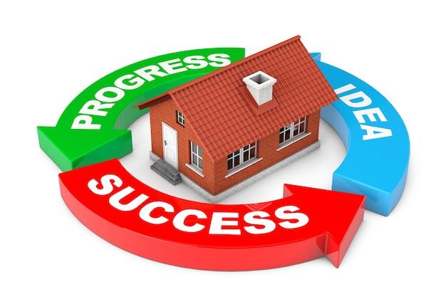 進捗状況、アイデア、成功矢印図白い背景の上の家。 3dレンダリング