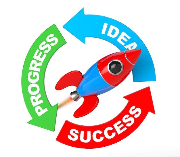 進行状況、アイデア、成功矢印図、白い背景の上のロケット。 3dレンダリング