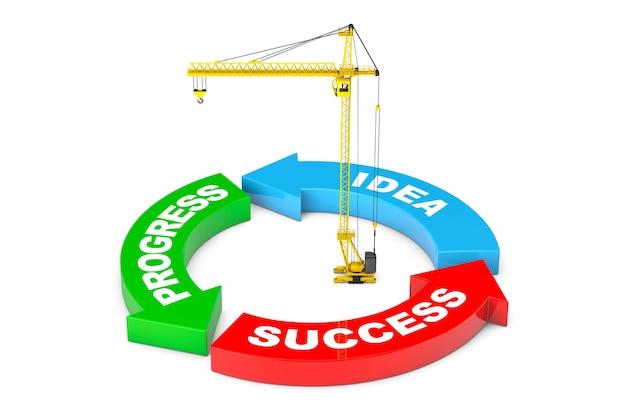 白地にタワークレーンを使用した進捗状況、アイデア、成功の矢印図。 3dレンダリング