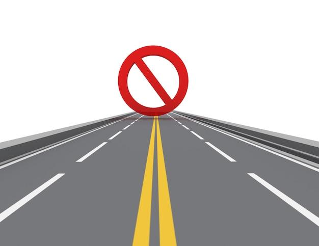 도로에 표지판을 금지합니다. 고립 된 3d 이미지